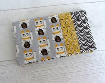 Door-checkbook cat lucky maneki neko, yellow gray fabric checkbook cover checkbook, protect checkbook Japanese fabric