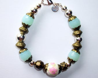 Silver plated bracelet with glass beads, metal, porcelain resin