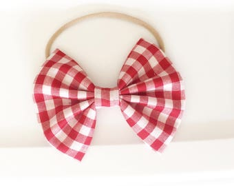 Red gingham bow ,baby bows