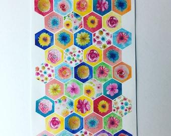 Secret Garden - planner/journal stickers (hesagons)