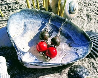 Red Coral and Gray Green Agate Dangle Earrings