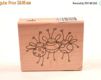Dancing Bugs - Bees - Lady Bugs - Vintage Rubber Stamp - Card Making - Crafts ~ 161221