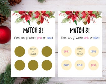 Christmas Gender Reveal  Scratch Off Cards, It's A Boy, Its A Girl, Fun Gender Reveal, Scratch Cards, New Baby, Pregnancy Announcement Cards