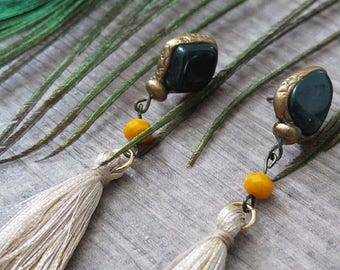 Clearance 50% Off Tassel Earrings,Malachite Earrings,Boho Earrings,Boho Jewelry,Bohemian Jewelry,Gypsy Jewelry,Dangle,Gemstone Earrings