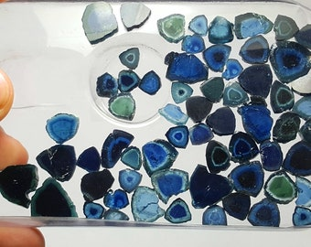 137 Carat Beautiful Polished Blue Indicolite Color Tourmaline Slices@Afghanistn1
