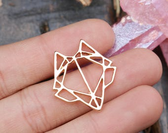 set of 5, fox charms, gold charms, metal charms, 24mm x 22mm, origami charms, animal charms, fox head charms, boho charms,