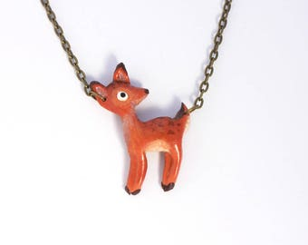 Necklace Deer (Fimo Polymer Clay) Handmade