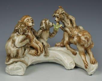 """Capodimonte Guido Cacciapuoti Figurine """"Monkeys"""""""