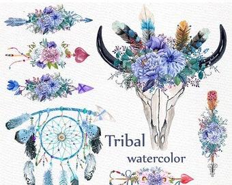 "ON SALE 30% Watercolor tribal clipart: ""BULL Scull Clipart"" Floral Arrows clipart Blue flowers Boho wedding Diy wedding Dreamcatcher clipart"