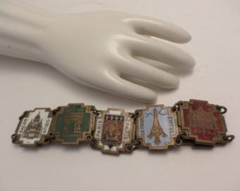 vintage souvenir Paris France bracelet brass & enameled eiffel tower+