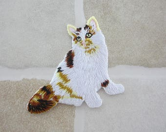 White Cat Badge - Embroidered Patch - Iron On Patch