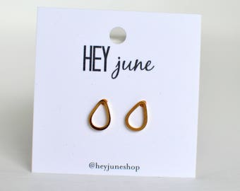 Gold teardrop earrings, open teardrop earrings, open teardrop studs, silver open teardrop earrings,  geometric earrings, bridesmaids gifts