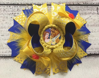 Beauty And The Beast Hair Bow Princess Belle Hair Bow  Beauty and The Beast Stacked Hair Bow Belle Hair bow Belle Outfit Belle Necklace set