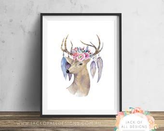 Boho Deer - Wall Art Print