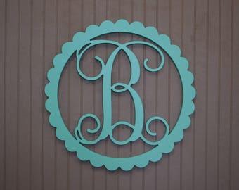 Painted Initial Door Hanger, Wooden Initial, Scallop Border, Painted Wooden Initial, Door Wreath, Door Sign, Vine Monogram