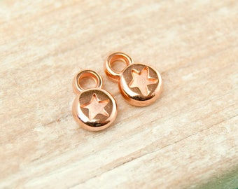 4x star pendant mini 6mm rose gold plated #4548