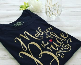Mother of the BrideT-shirt with matching vine glass, Mother of the Bride glitter T-shirt , Special order Mother of the Bride