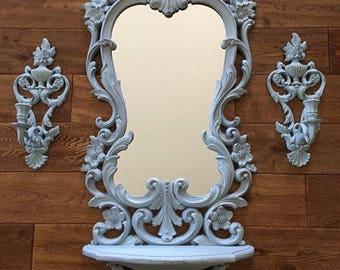 SOLD Beautiful Syroco 1970 Mirror shelf with wall sconce pair, blue, distressed, Shabby Mirror, Ornate mirror shelf, french mirror set