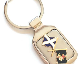 Personalised Scotland Masonic Knights Templar Crested Key Ring + Pouch (K070)