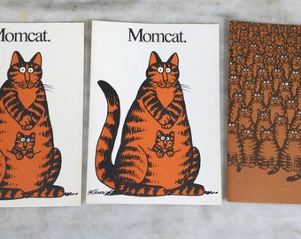vintage B. Kliban cat cards, 3 catcards, 1977, blank stationery, no envelopes, 2 Momcat. and 1 crowd of cats