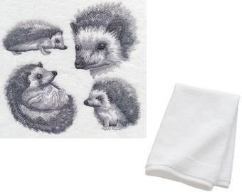 Embroidered Hedgehog Hand Towel 100% Cotton Lovely Birthday Present Wildlife Gift