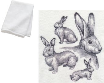 Giant Bunny Rabbit Embroidered Bathroom Hand Towel Gift Present