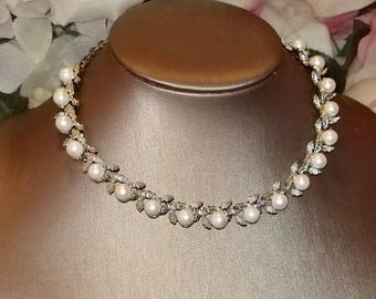 Lovely Pearls & Floral Silver Tone Choker Necklace | Vintage Retro 1950's | Wonderful Condition