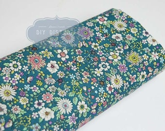 Green turquoise Japanese liberty style fabric