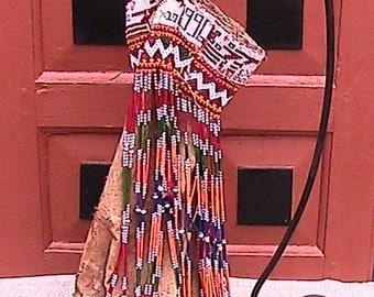 Embellished beaded old (1996) leather bag
