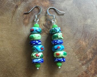 Blue Earrings, Green Earrings, Ceramic Earrings, Floral Earrings, Colorful Jewelry, Dangle Earrings