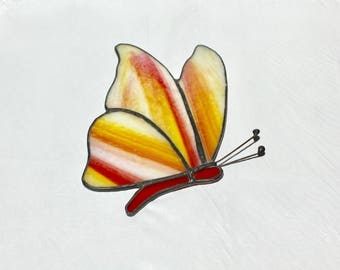Stained Glass Butterfly Suncatcher - Butterfly Suncatcher - Stained Glass Suncatcher - Orange Butterfly Suncatcher - Orange Butterfly