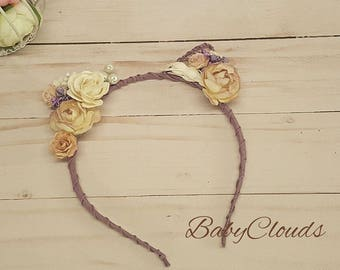 Flower cat ears headband, floral cat ears, cat ears headband, festival, ariana grande, Rose Cat Ears
