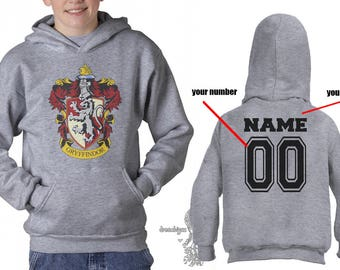 Customback Gryffin Crest #1 printed on YOUTH / KIDS Hoodie Heather Grey