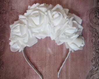 White Roses headband, wedding white Hair hoop, Hair accessories, White roses hair hoop, Wedding headband, wedding  hair hoop, White flowers