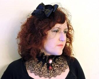 Black Lace Choker Black choker Goth Wedding Colla Victorian choker Gothic Choker Cameo choker Neck corset Fantasy Vampire Gothic Gift