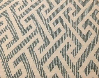 "67""x 54"" Kaufmann George Teal and Cream 100% Cotton Geometric Fabric"