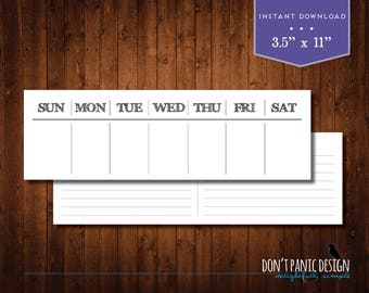 Printable Perpetual Weekly Calendar - Rustic Daily Calendar - Instant Download