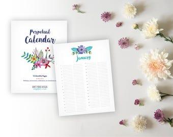 Printable Perpetual Calendar -  Full Page Watercolor Floral Birthday Calendar - Anniversary Calendar Eternal Planner - Instant Download PDF