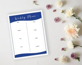 Printable Menu Planner - Blue Wave Meal Prep Dinner Planner Page and Printable Grocery List - Daily Menu Planner Sheet - Instant Download