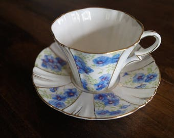 Royal Albert Teacup & Saucer, Blue Pansies