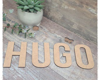 Name height 10 cm thickness 3mm raw wooden letter