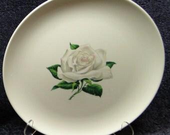 "Taylor Smith Taylor Versatile White Rose Dinner Plate 10 1/4"" 50's Vintage EXCELLENT!"
