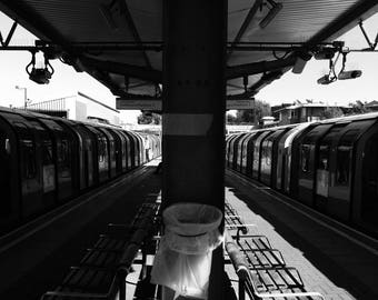 London Photography, London Tube, London Underground, London Print, Street Photography, Black And White Print, Symmetry Print, Train Station