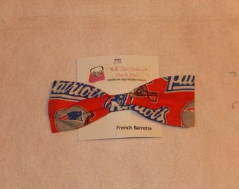 New England Patriots Fabric Hair Bow with French Barrette