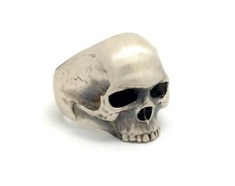 Sterling silver hand carved men's skull ring