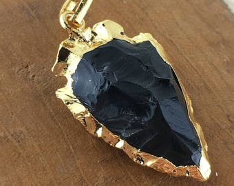 Black Obsidian Gold Electroplated Arrowhead Component