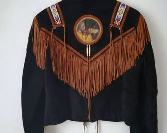 suede jacket leather fringe jacket 90s vintage fringe jacket made in mexico  native american fringe jacket size m