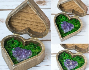 Amethyst Wedding Rustic Ring Box Bearer Wooden Ring Holder Wedding Gem Moss Ring Pillow heart shaped ring box amethyst stone