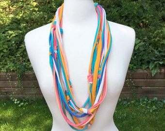 Upcycled Repurposed cotton tie dye multi strand necklace