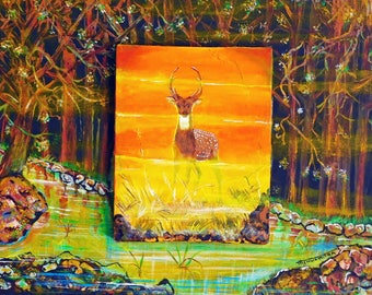 Original painting, Acrylic on Canvas, Deer, Mist, Hunting, Home decor, Wall hanging, Outdoors, Brown color, 3D
